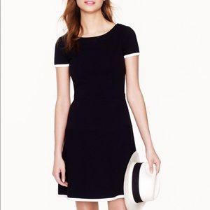 JCrew short sleeve navy white trim dress
